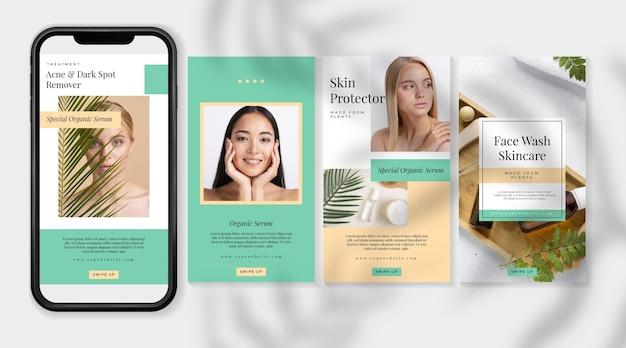 Cosmetic instagram stories Free Vector
