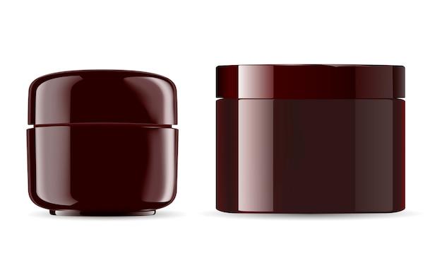 Cosmetic jars mockup pack. amber glossy plastic Premium Vector
