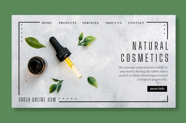 Cosmetic landing page concept Premium Vector