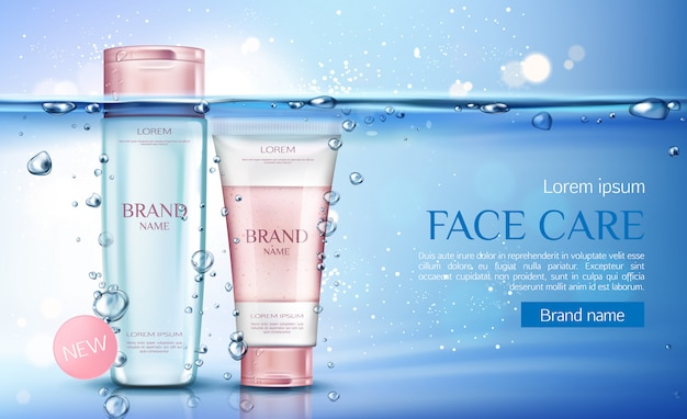 Cosmetic micellar water and scrub bottles, beauty cosmetics products line for face care Free Vector