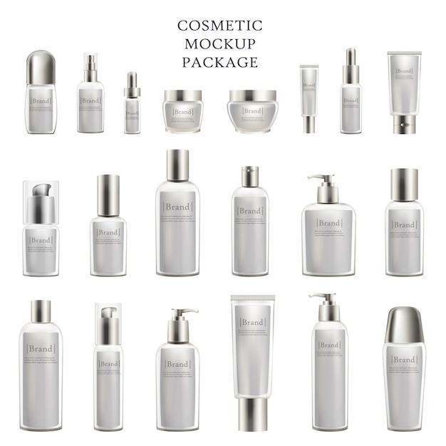 Cosmetic mockup package set of cosmetic bottles Premium Vector