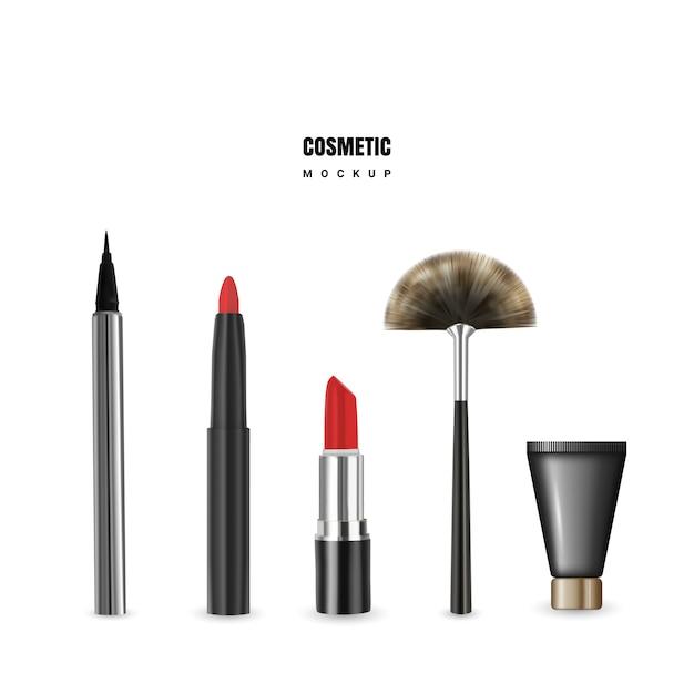 口紅、鉛筆、アイライナー、クリーム、ブラシで化粧品のモックアップ Premiumベクター