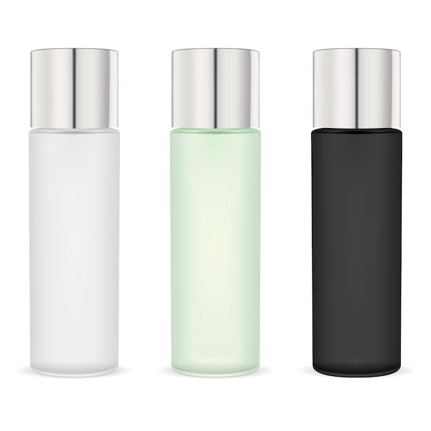 Cosmetic moisturizer bottles pack. black, white Premium Vector