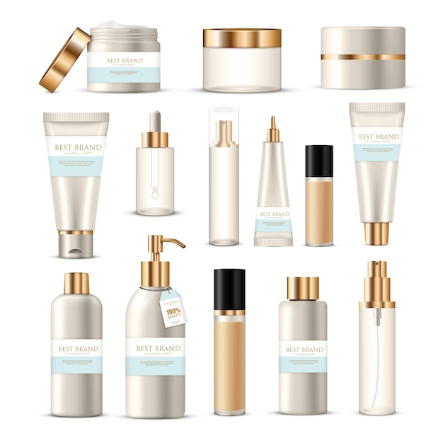 Cosmetic package collection of beauty product creams lotions with golden and silver  branding decoration Free Vector