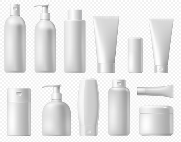 Cosmetic package. white shampoo bottle, cream tube and body lotion packaging template. bathroom cosmetic platic pack mock up isolated on transparent background. Premium Vector