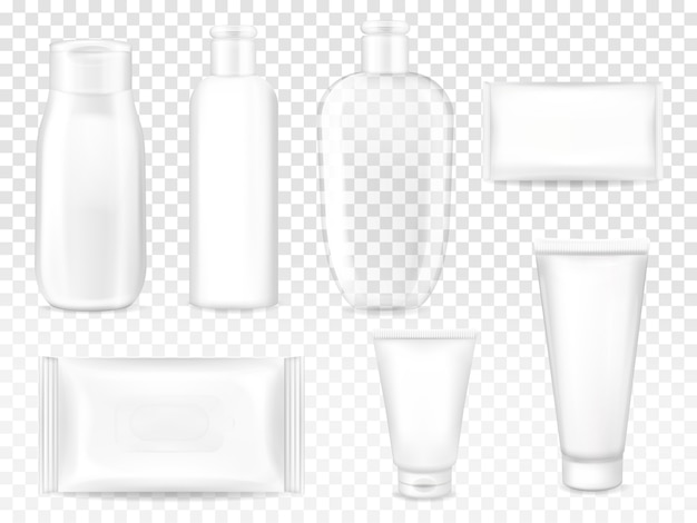 Cosmetic packages illustration of shampoo or lotion plastic bottle, facial cream tube or soap Free Vector