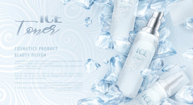 Cosmetic packaging with ice design Premium Vector