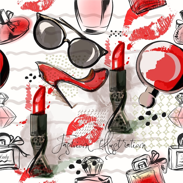 Cosmetic pattern background Free Vector