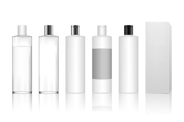 ジェル、ローション、クリーム、シャンプー、バスフォーム、スキンケア用の化粧品ペットボトル。 Premiumベクター
