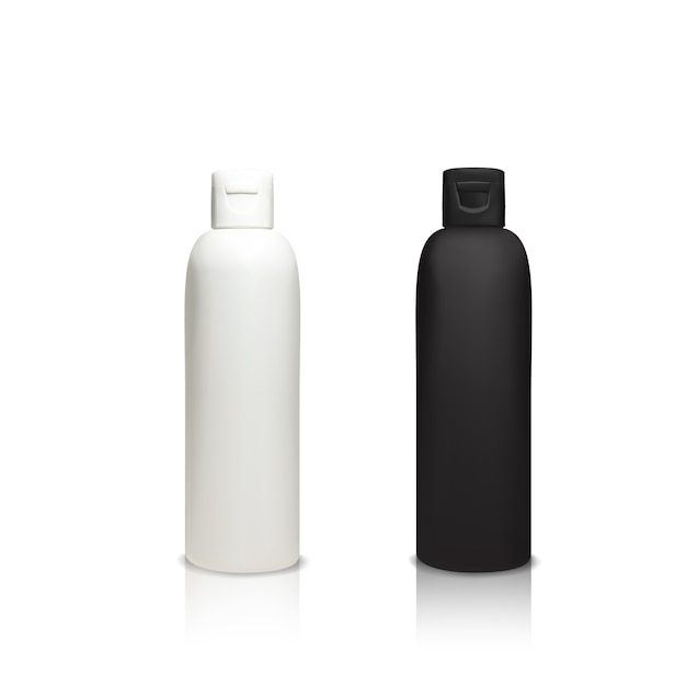 Cosmetic plastic bottles illustration of 3d realistic containers for shower gel, shampoo Free Vector
