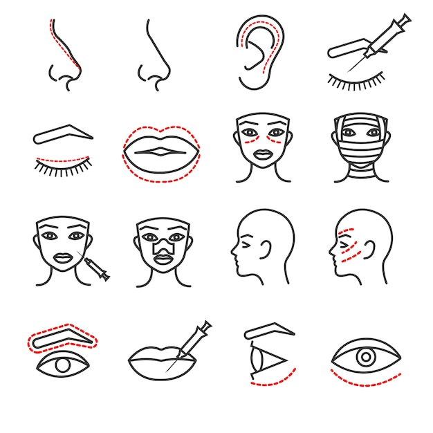 Cosmetic plastic face surgery vector thin line icons set Premium Vector