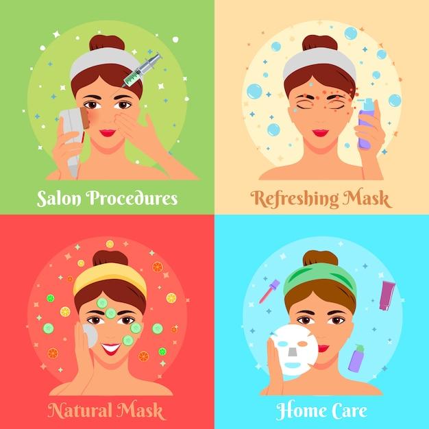 Raccolta banner procedure cosmetiche Vettore gratuito