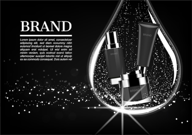 Cosmetic product in big water drop Premium Vector