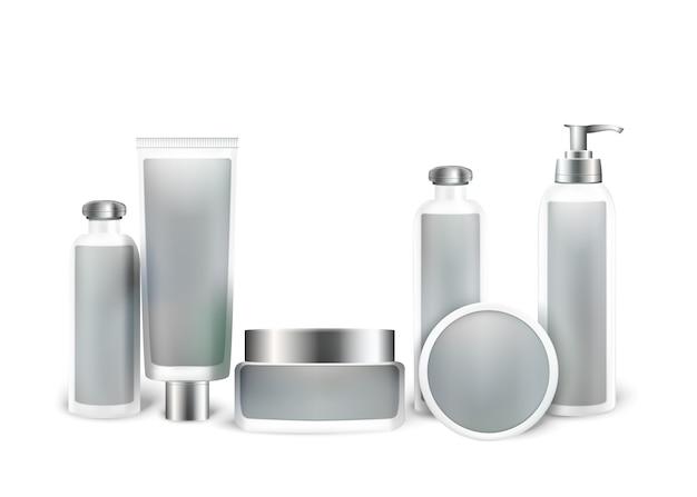 Cosmetic product mock up set.  bottles Premium Vector
