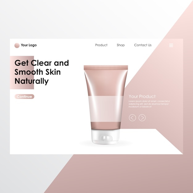Cosmetic product realistic mock up with landing page illustration Premium Vector