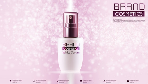 Cosmetic products on pink color and text template Premium Vector
