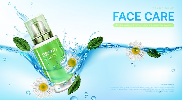 Cosmetic products in water splash with herb Free Vector
