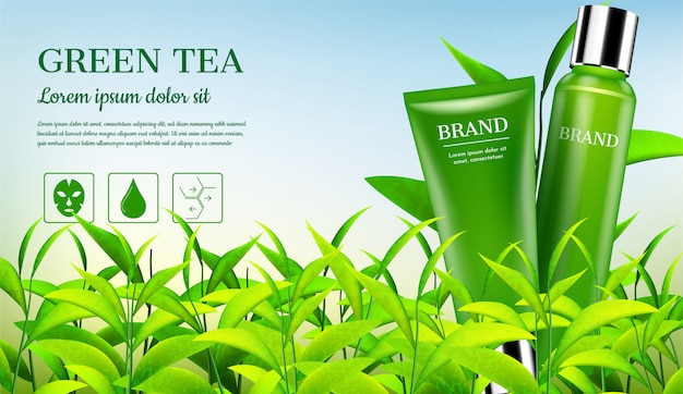 Cosmetic products with small trees Premium Vector