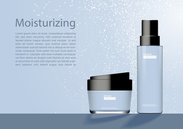 Cosmetic products with small white dust and template Vector ...