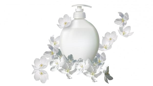 ジャスミンの花と化粧品の現実的な液体石鹸 無料ベクター