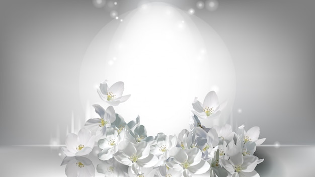 Cosmetic realistic poster, falling jasmine flowers Free Vector