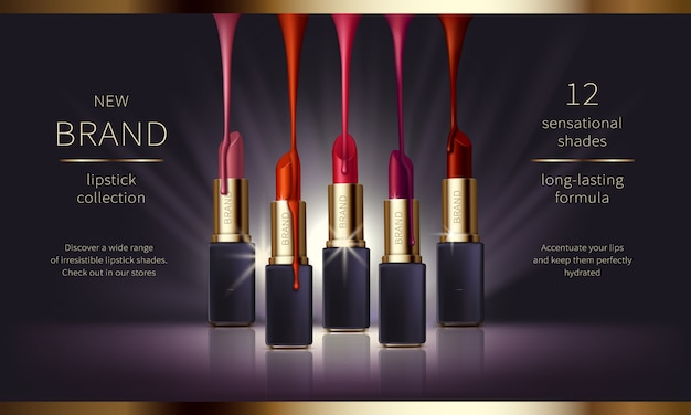 Cosmetic realistic vector ads banner with premium Vector