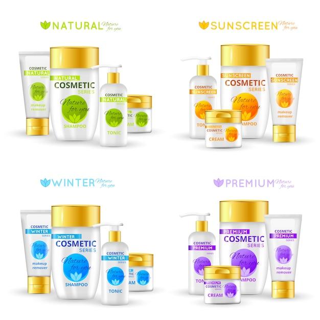 Serie di packaging cosmetico Vettore gratuito