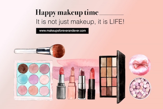 Cosmetic social media with eyeshadow, lipstick, brush on Free Vector