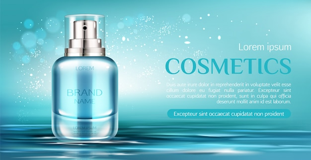 Cosmetic spray bottle banner Free Vector