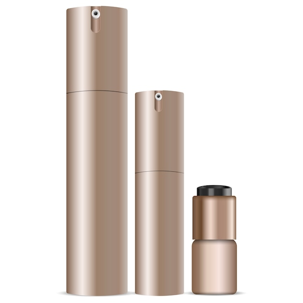 Cosmetic spray can set. dispenser bottles Premium Vector