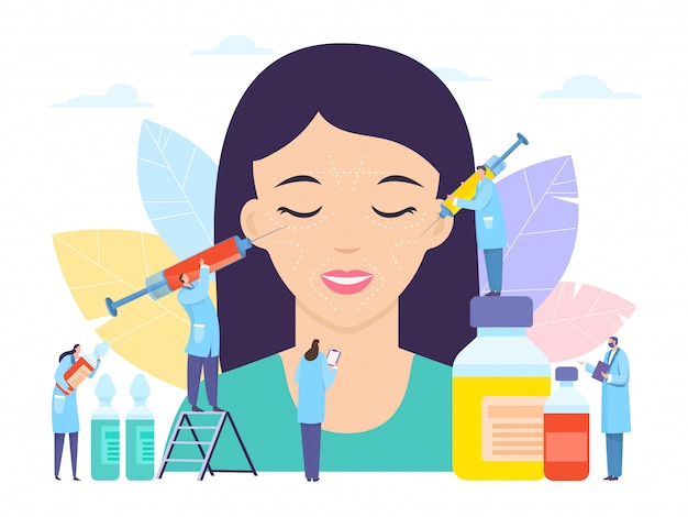 Cosmetic surgery, beaurty botox injection,  illustration. syringe with hyaluronic acid medicine near large girl patient Premium Vector