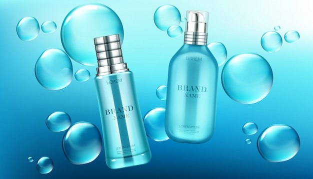 化粧品チューブ広告、美容化粧品ボトル 無料ベクター