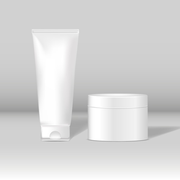 Cosmetic tube and jar mockups Free Vector