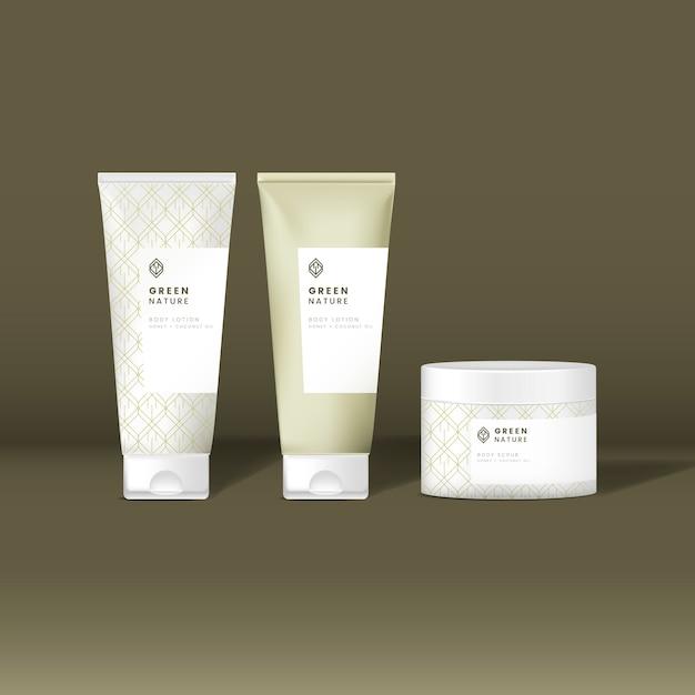 Cosmetic tube and jar mockups Free Vector