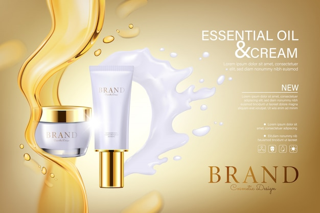 Cosmetic tubes with oil and white cream flowing Premium Vector
