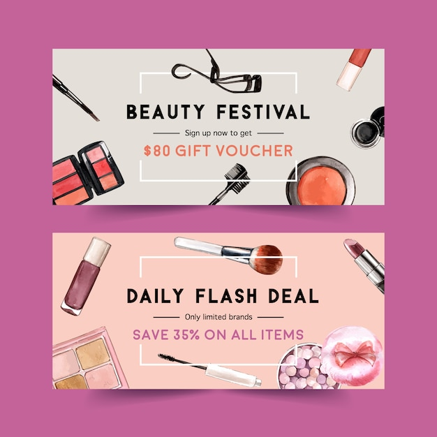 Cosmetic voucher set with brush on, mascara, eyelash curler Free Vector