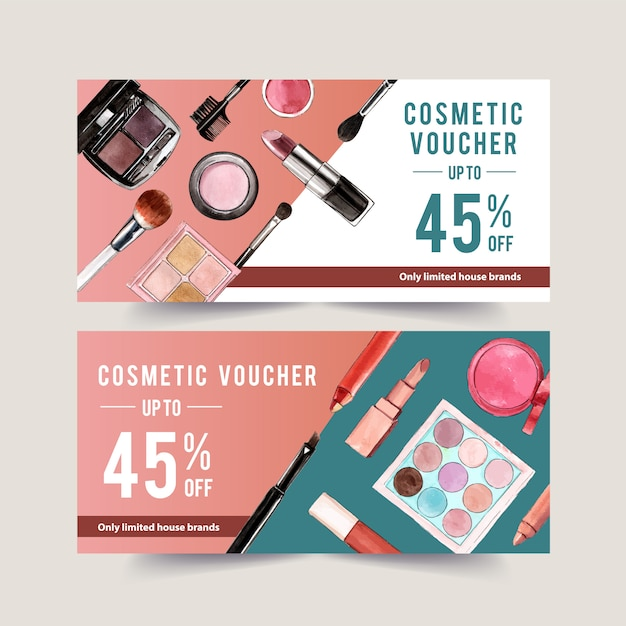 Cosmetic voucher set with eyebrow palette, lipstick Free Vector