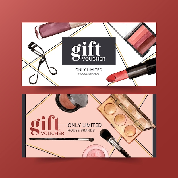 Cosmetic voucher set with eyelash curler, lipstick Free Vector