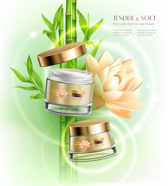 Cosmetics advertising skin softening  cream jar pot container realistic composition with lotus flower bamboo stalks Free Vector