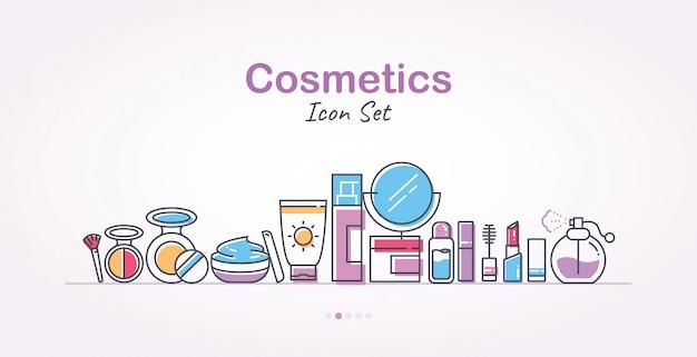 Cosmetics banner icon set Premium Vector