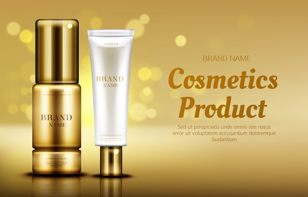 Cosmetics beauty product bottles with bokeh Free Vector