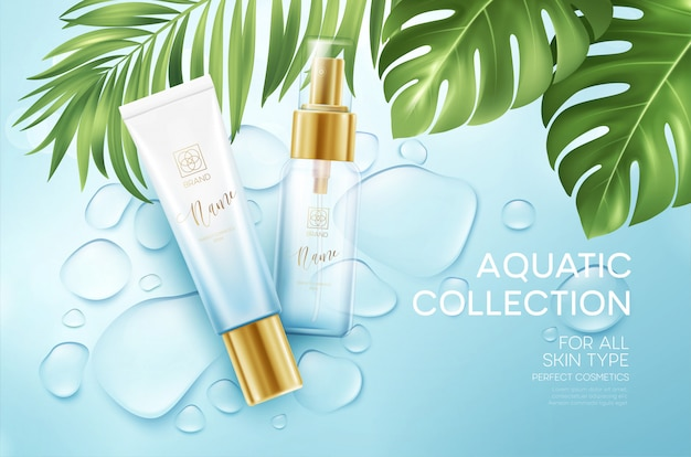 Cosmetics On Blue Water Drop Background With Tropical Palm Leaves Face Cosmetics Body Care Banner Premium Vector