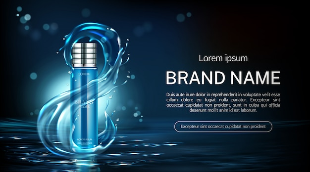 Cosmetics bottle anti aging product tube banner Free Vector