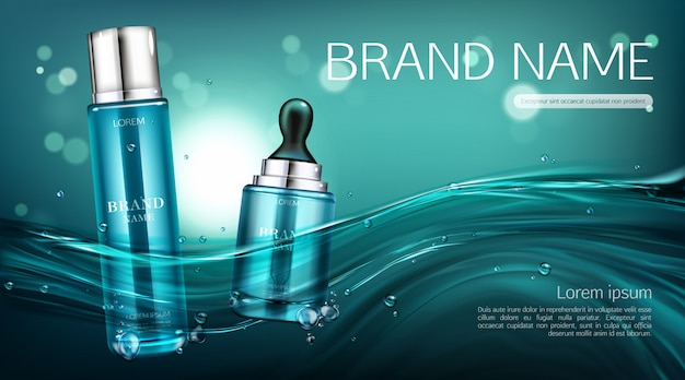 Cosmetics bottles  banner. lotion and serum Free Vector