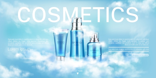 Cosmetics bottles beauty product, banner template Free Vector