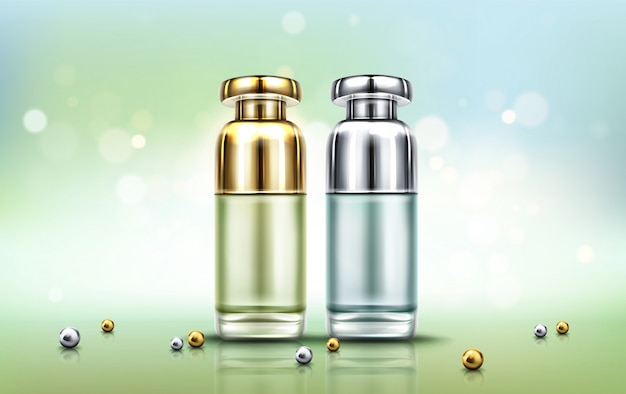 Cosmetics bottles, beauty skin care cosmetic tubes Free Vector