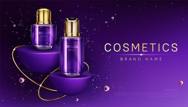 Cosmetics bottles on podium perfume ad banner Free Vector