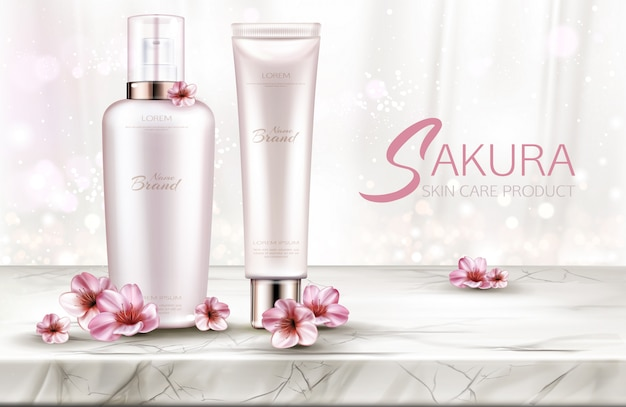 Cosmetics bottles skin care, beauty product line with sakura flowers on marble table top Free Vector