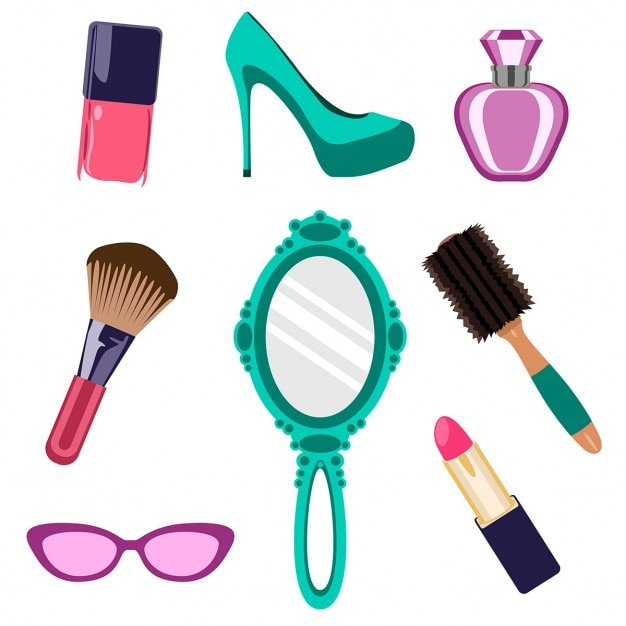Cosmetics collection and beauty items Vector