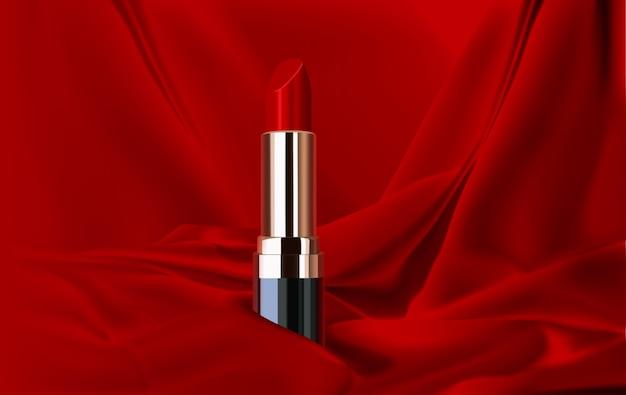 化粧品は、赤い絹の背景に赤い口紅をデザインします Premiumベクター